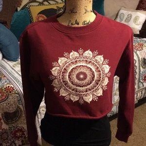L.A HEARTS Size XS L/S Maroon Crop Sweatshirt